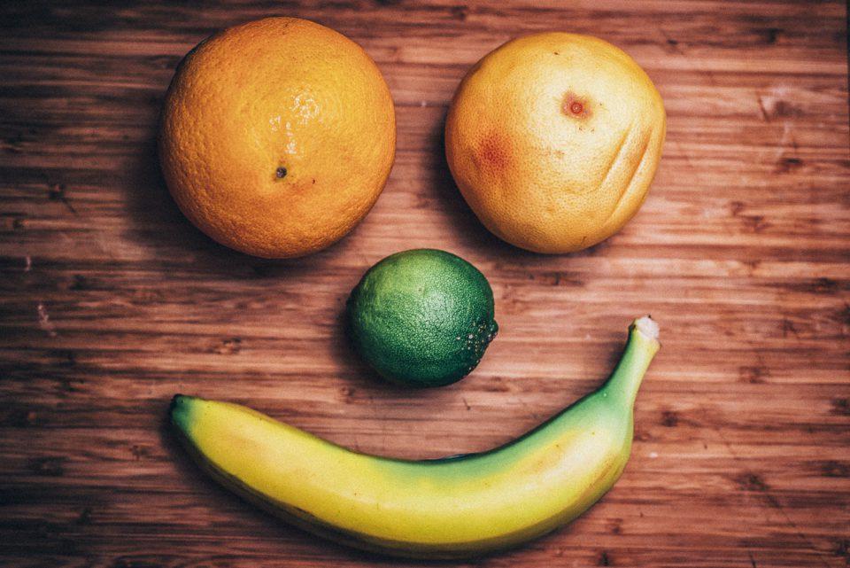 Smiley Gesicht aus Obst